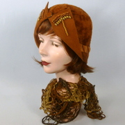 Rust Color Fur Felt Cloche Hat