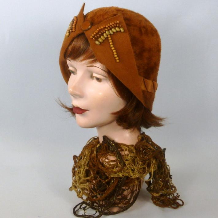Rust Color Fur Felt Cloche Hat