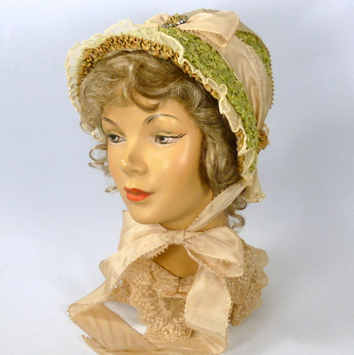 Repoduction 1800s Green Straw Bonnet Hat