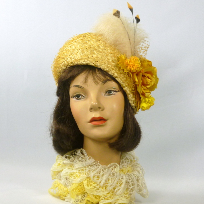 Yellow Straw Side Slant Hat - Vintage Woven Straw
