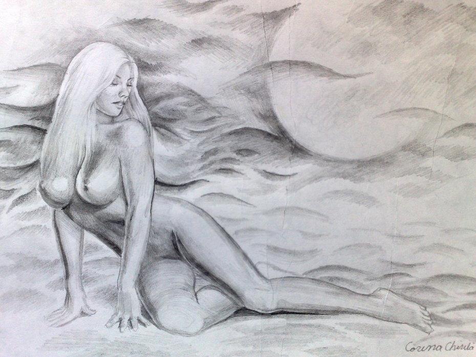 Din valurile vremii desen nud in creion