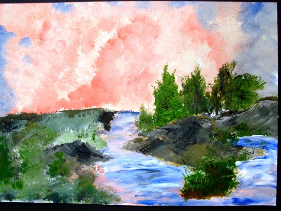 Râu în apus