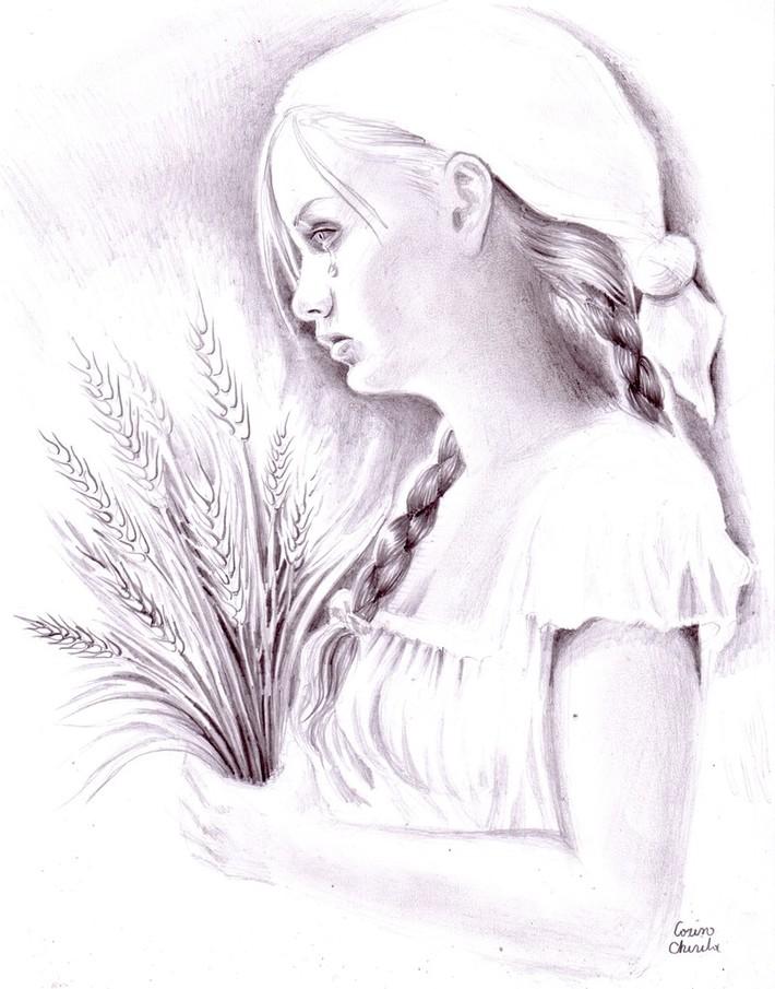 Simina Padureanca lui Ioan Slavici desen in creion