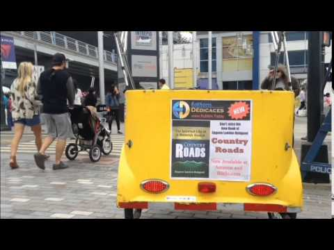 """Advertising for the book """"Country Roads"""" on a pedicab in New York"""