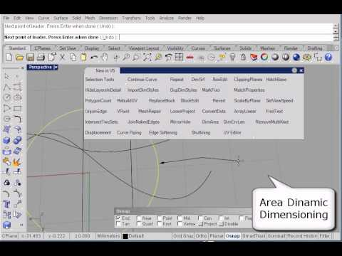 New in Rhino 5.0 Area Dynamic Dimension