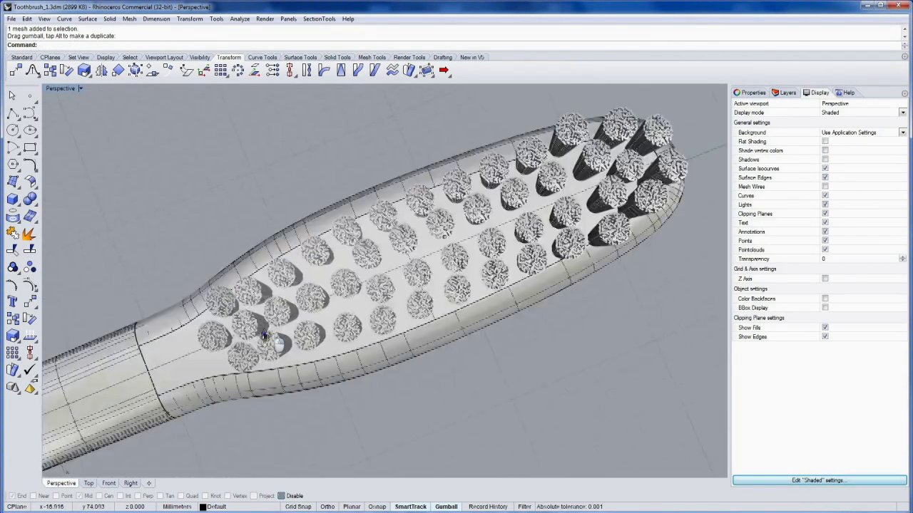 'Say Ahh'... product design and packaging with Rhino 5: Modeling the bristles 3 of 7