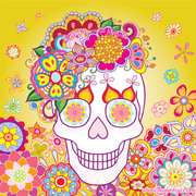 Smiling Sugar Skull with Flowers by Thaneeya McArdle