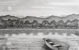 Drawing - Rowboat on a Lake