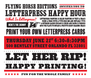 UCF Flying Horse Editions Letterpress Happy Hour