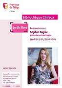 """Rencontre """"Je dis livre"""" avec Sophie Buyse"""