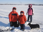 Kids and Willow On the frozen lake