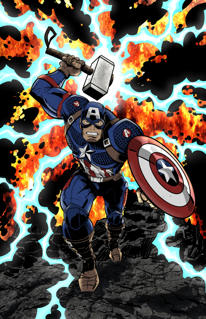 Cap and Mjolnir