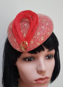 Red & Gold Lace Fascinator