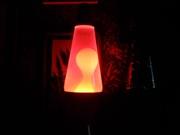Orange base, pink water, white wax