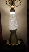27'' Tri colored glitter lamp with clear coat shaved off.