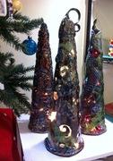 Raku fired Christmas trees