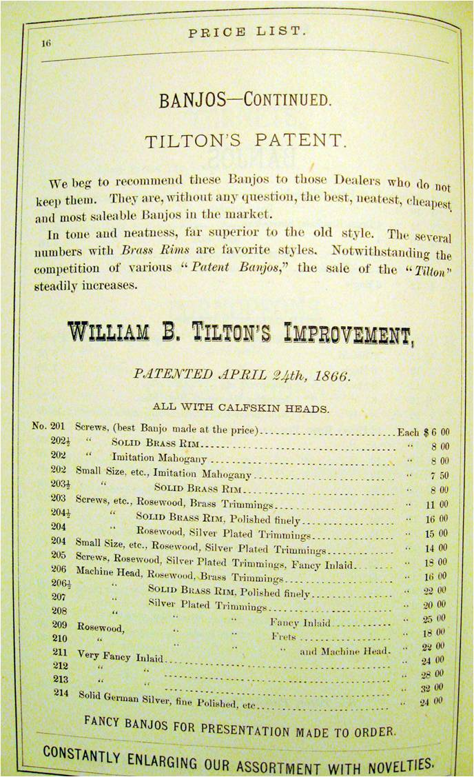 Tilton1874 Model & Price List from Bruno Catalog