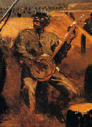 "Winslow Homer, ""Defiance"" Detail 2: Black Banjo Player"