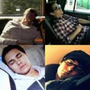 Big Time Rush sleeping.