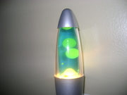 mini green lava lamp with lava