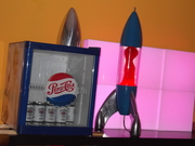 """My Custom Mathmos Lunar """"Prison"""" Cap and Base Blue and the Bottle Clear/Red 4"""