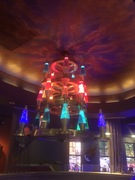 Lava chandelier and pizza at The Mellow Mushroom