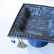 Lace Pottery Pedestal Earring Jewelry Bowl