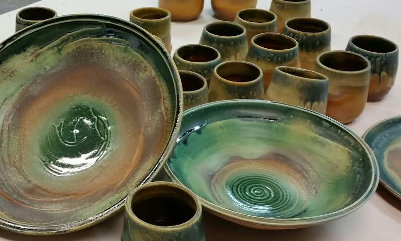 Water Color Green and Warm Colored Bowls and Yunomis