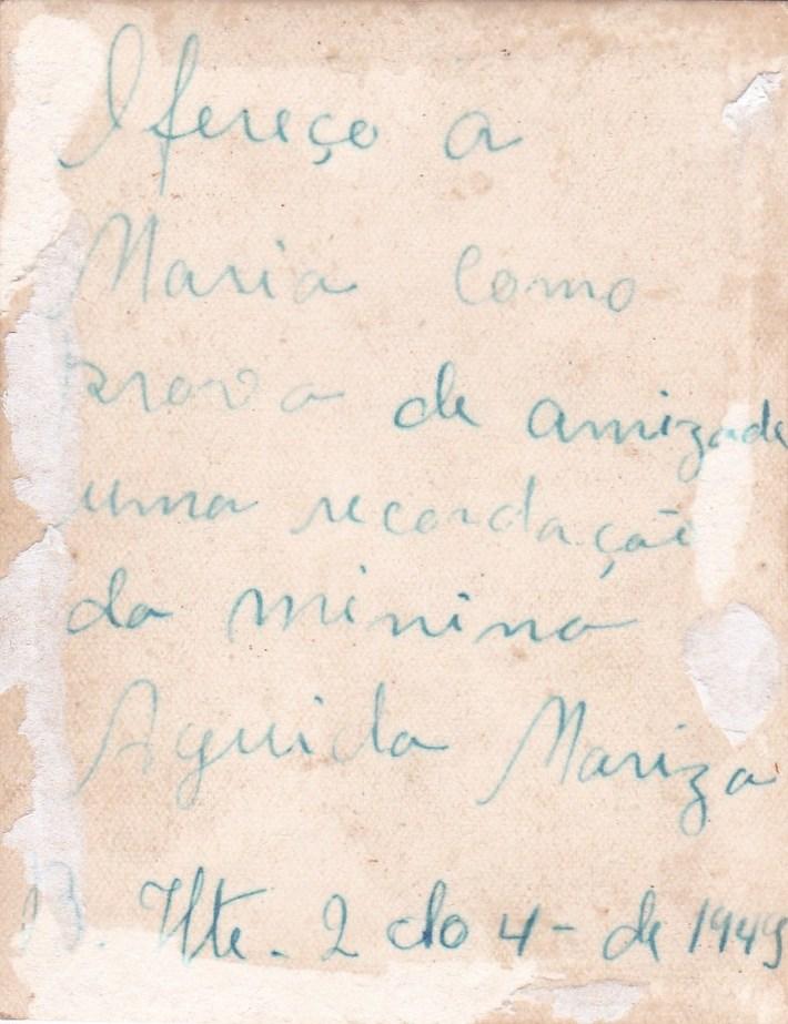 dedicatória de uma foto a minha avo maria luiza da mata em 1949