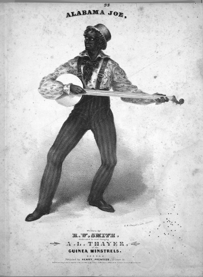 Joe Sweeny in 1840 playing a 4 string with no thumb string