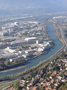 The ESRF and the river L'Isere seen from the Grenoble mountains