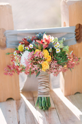 Wildflower-Bouquet-With-Striped-Brown-Ribbon-Wrap