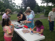Helpers at the craft table