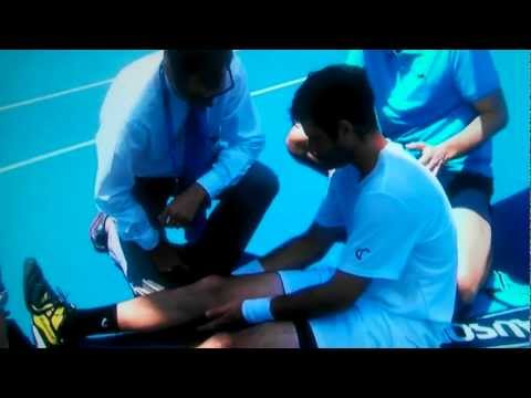 BRIAN BAKER INJURED HIS KNEE vs Querrey  may require surgery extended vid