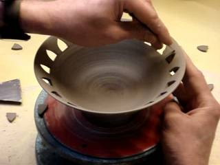 Ingleton Pottery Piercing a bowl pierced carving work on a clay pot pottery demo