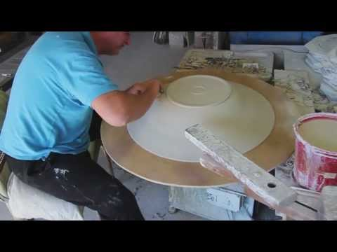 Bill Powell throws and trims an 80 cm. Stoneware Platter