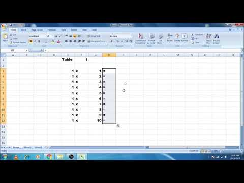 How to make a Table in Excel 2017