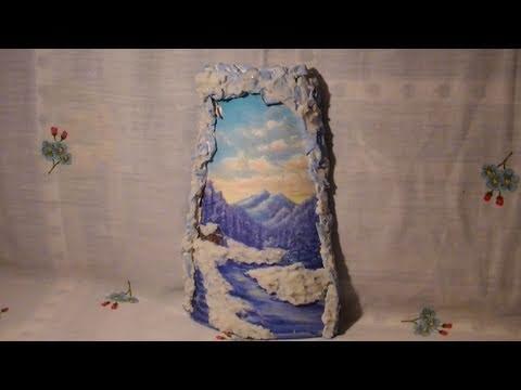 Tutorial: Decoupage su tegola di ceramica con effetto neve e decori in rilievo