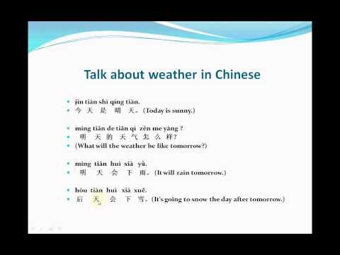 How to talk about the weather in Chinese - Video Lesson