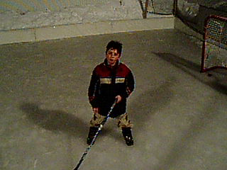 Backyard ice hockey rink fun with my son Nic in 2005