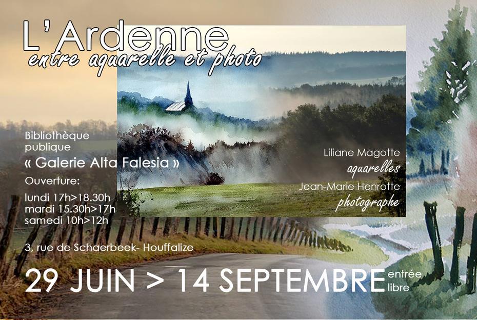 Exposition des paysages ardennais, aquarelles inspirées.