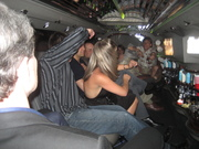 Tim Jennings shows his moves to Jesse Biter's entourage in the HomeNet Limo between Gaylord Palms and The Blue Martini at Digital Dealer Conference - April 2008