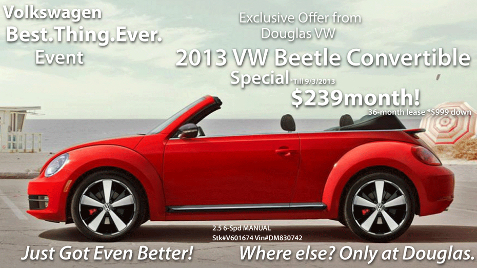 Union Co.-VW | 2013 Beetle Convertible Only $239 mo! Union Co. NJ`s Select VW Dealer has your Labor Day Weekend Deals! Where else? Only at Douglas!