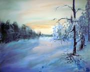 """""""Зимний вечер"""", акрил, 75*65 см."""