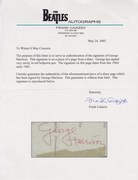 Frank Caiazzo COA For George Harrison Autograph