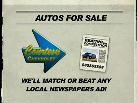 Courtesy Chevrolet will Match or Beat any Newspaper Ad Promotion