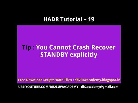 HADR Tutorial Part 19 - You Cannot Crash Recover Standby Explicitly