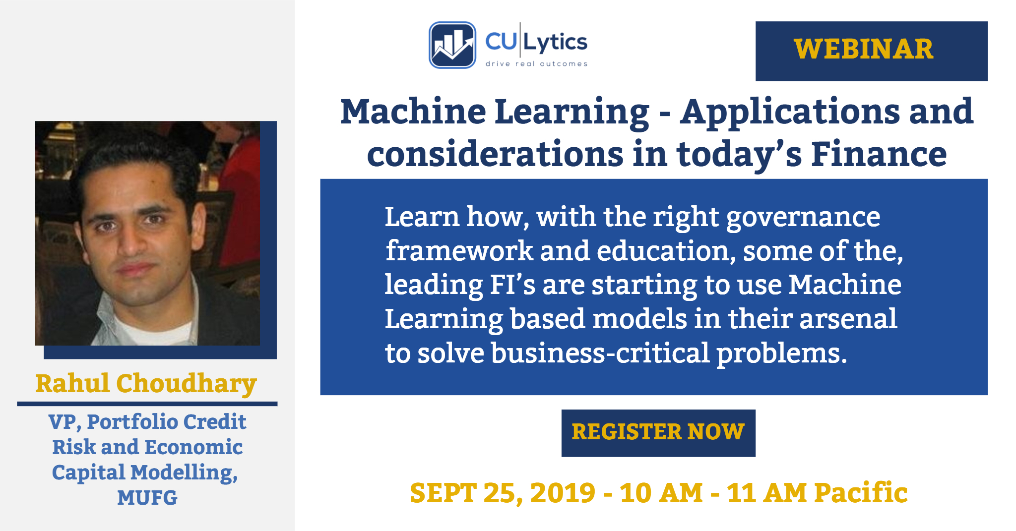 Webinar - Machine Learning - Applications and considerations in today's Finance