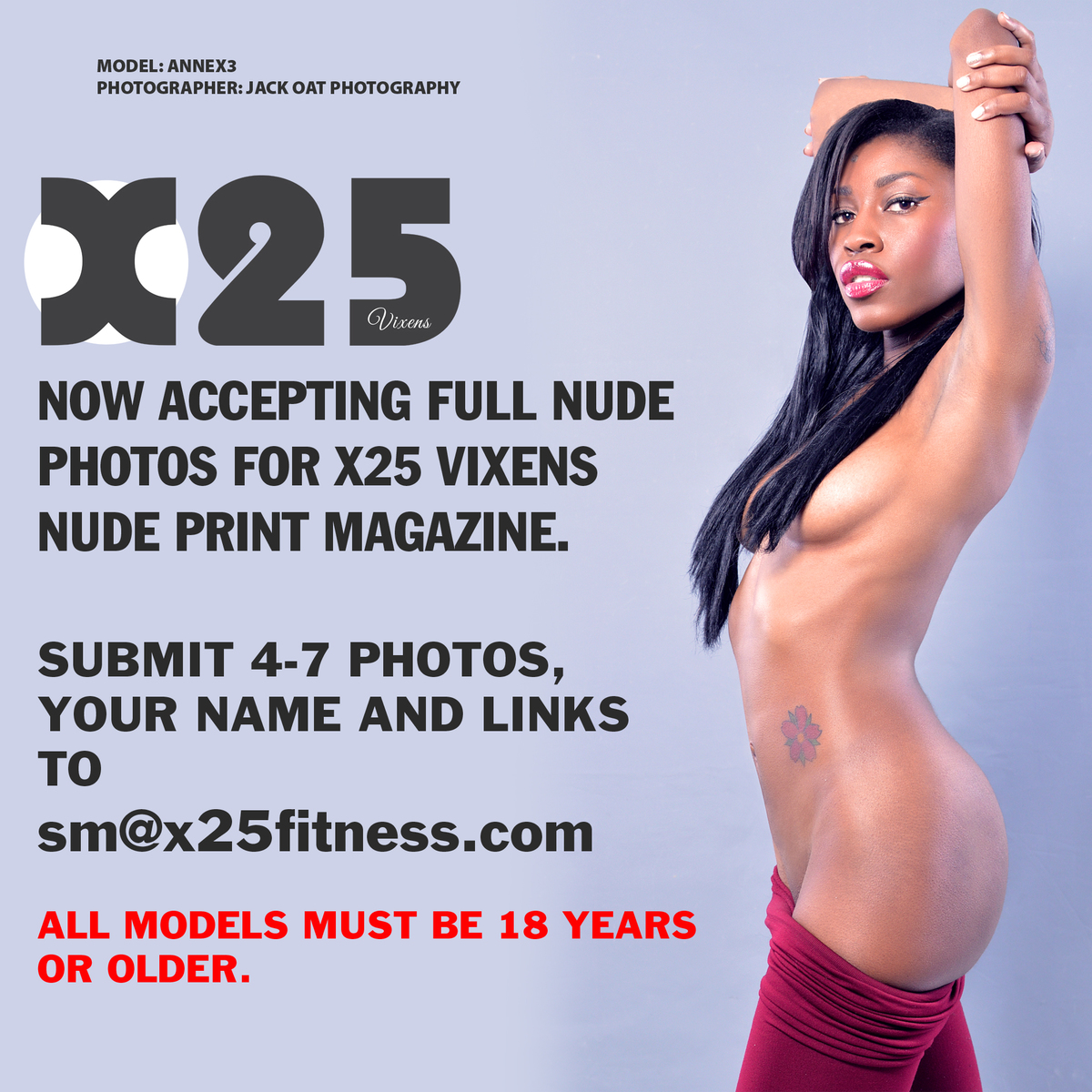 X25 Nude Vixens Print Magazine Model Call