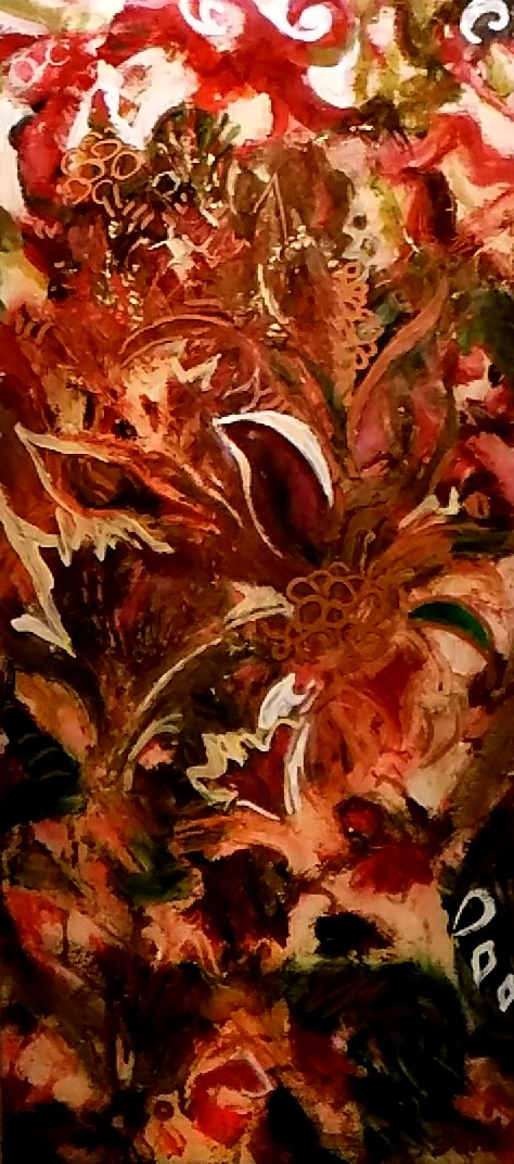 Holiday Flowers. Oil, acrylic, ink and resin on panel. 10%22 x 22.%22 $1250